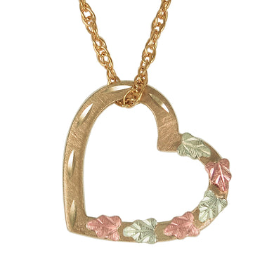 Heart with Leaves Black Hills Gold Pendant & Necklace