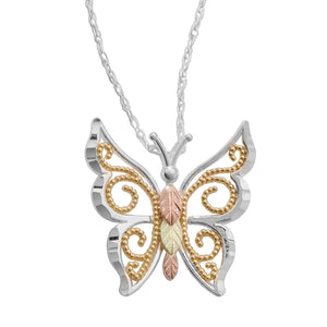 Sterling Silver Black Hills Gold Fancy Butterfly Pendant - Jewelry
