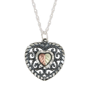 Sterling Silver Black Hills Gold Antique Heart Pendant - Jewelry