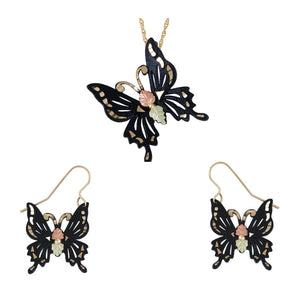 Black Hills Gold Elegant Butterflies Earrings & Pendant Set - Jewelry