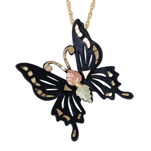 Black Butterfly Pendant & Necklace - Black Hills Gold - Jewelry