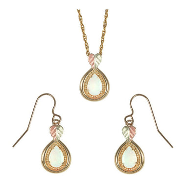 Black Hills Gold Teardrop Opals Earrings & Pendant Set