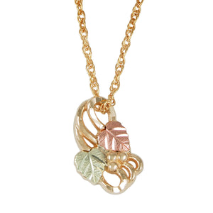 Traditional Swirling Pendant & Necklace - Black Hills Gold - Jewelry