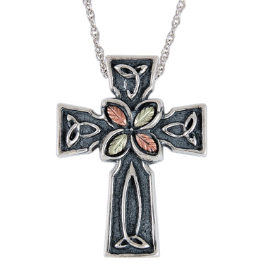 Sterling Silver Black Hills Gold Celtic Cross Pendant - Jewelry