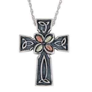 Sterling Silver Celtic Cross Pendant & Necklace - Black Hills Gold - Fortune And Glory - Made in USA Gifts