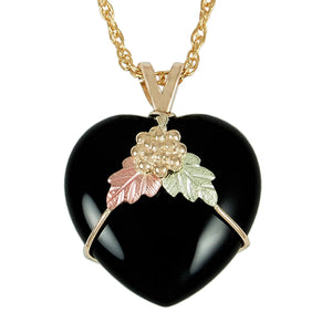 Onyx Heart Pendant & Necklace - Black Hills Gold - Jewelry