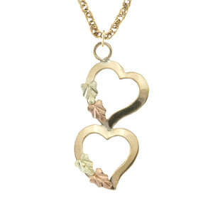 Black Hills Gold Dangling Hearts Pendant & Necklace