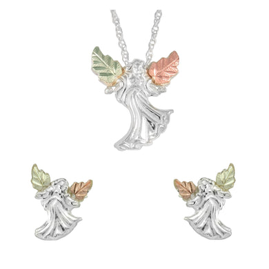 Sterling on Black Hills Gold Angels Earrings & Pendant Set - Fortune And Glory - Made in USA Gifts