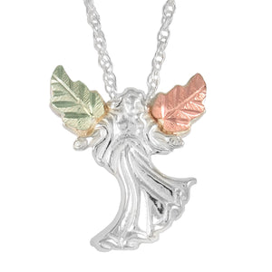 Sterling Silver Black Hills Gold Open Arms Angel Pendant - Jewelry