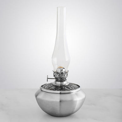 Leaf Medallion Pewter Oil Lamp