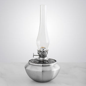 Leaf Medallion Pewter Oil Lamp - Fortune And Glory - Made in USA Gifts