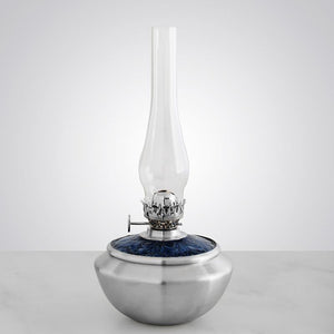 Leaf Medallion / Blue Pewter Oil Lamp