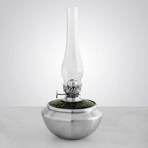 Leaf Medallion / Green Pewter Oil Lamp