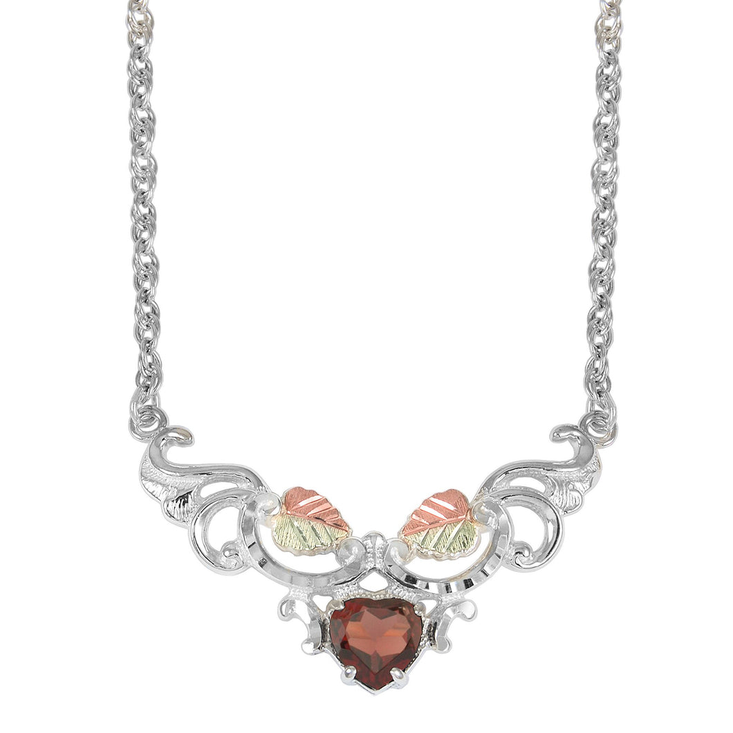 Sterling Heart of Garnet Pendant & Necklace - Black Hills Gold