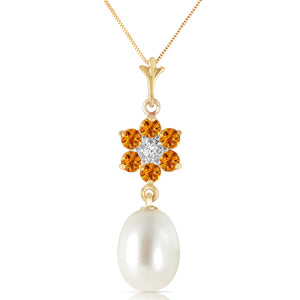 14 Karat Gold Natural Pearl, Citrine Diamond Pendant