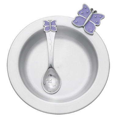 Butterfly / Lavender Pewter Dish & Spoon Set