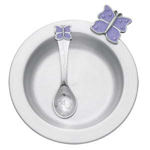 Butterfly / Lavender Pewter Dish & Spoon Set - Fortune And Glory - Made in USA Gifts
