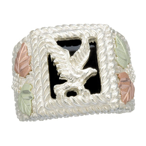 Men's Sterling Ring with Silver Eagle - Black Hills Gold - Fortune And Glory - Made in USA Gifts