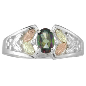Sterling Silver Black Hills Gold Mystic Fire Topaz Ring IV - Fortune And Glory - Made in USA Gifts
