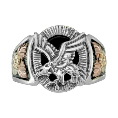 Mens Sterling Silver Black Hills Gold Onyx Eagle Ring II - Jewelry