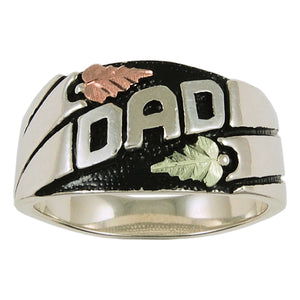 "Men's Sterling Silver ""Dad"" Ring - Black Hills Gold - Fortune And Glory - Made in USA Gifts"