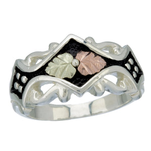 Sterling Silver Black Hills Gold Antiqued Ring - Jewelry