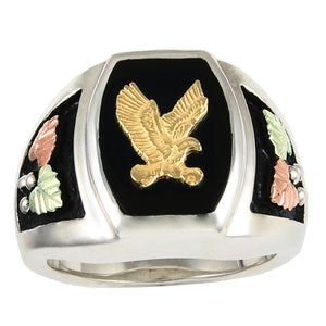 Mens Sterling Silver Black Hills Gold Eagle Foliage Ring - Jewelry