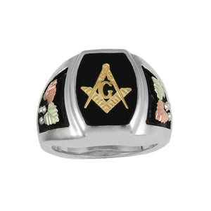 Mens Sterling Silver Black Hills Gold Rounded Masonic Ring - Jewelry