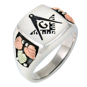 Men's Sterling Silver Flat Top Masonic Ring - Black Hills Gold - Fortune And Glory - Made in USA Gifts