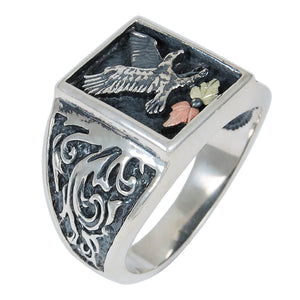 Mens Sterling Silver Black Hills Gold Oxidized Eagle Ring - Jewelry