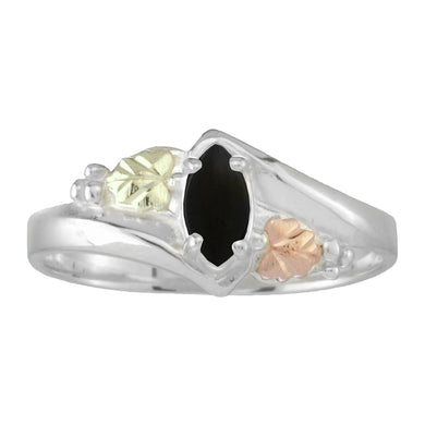 Sterling Silver Black Hills Gold Marquise Cut Onyx Ring - Fortune And Glory - Made in USA Gifts