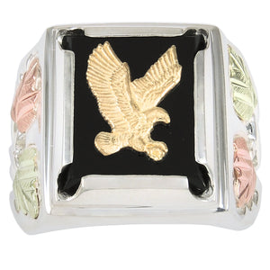 Square Face Men's Sterling Silver Eagle Ring - Black Hills Gold - Fortune And Glory - Made in USA Gifts