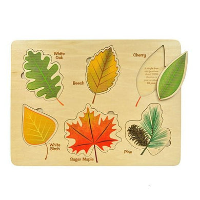 Puzzle Lift and Learn Leaf - Wooden Toys