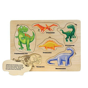 Puzzle Lift and Learn Dinosaur - Wooden Toys