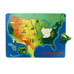Lift & Learn US Map Wooden Puzzle - Wooden Toys