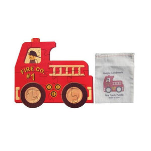 Shaped Jigsaw Wooden Puzzle Fire Truck - Wooden Toys