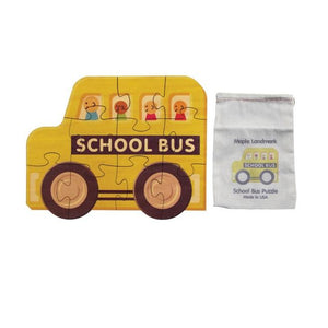 Shaped Jigsaw Wooden Puzzle, School Bus - Fortune And Glory - Made in USA Gifts