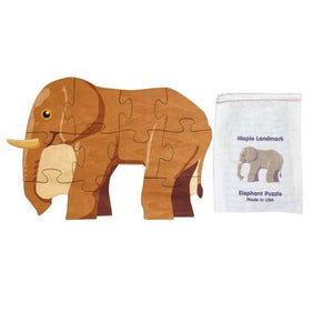Shaped Jigsaw Wooden Puzzle, Elephant - Fortune And Glory - Made in USA Gifts