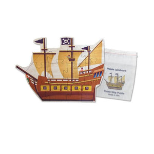 Shaped Jigsaw Wooden Puzzle, Pirate Ship - Fortune And Glory - Made in USA Gifts