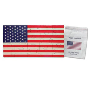 Shaped Jigsaw Wooden Puzzle, American Flag - Fortune And Glory - Made in USA Gifts