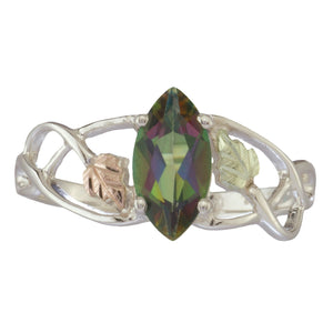 Sterling Silver Black Hills Gold Mystic Fire Topaz Ring III - Fortune And Glory - Made in USA Gifts