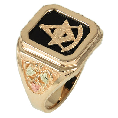 Mens Onyx Gold Masonic Ring - Black Hills Gold - Fortune And Glory - Made in USA Gifts