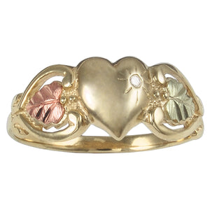 Diamond & Heart Ring - Black Hills Gold - Jewelry