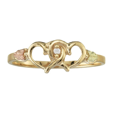 Twin Hearts & Diamond Black Hills Gold Ring - Fortune And Glory - Made in USA Gifts