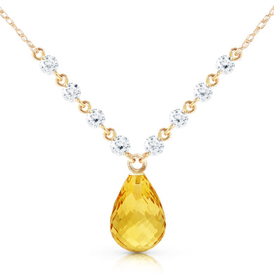 14 Karat Gold Mermaids Singing Citrine Diamond Pendant
