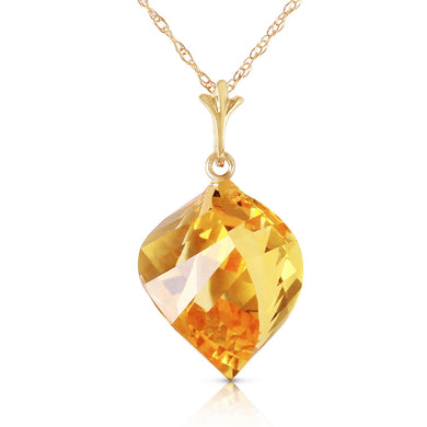 14 Karat Gold Twisted Briolette Citrine Pendant