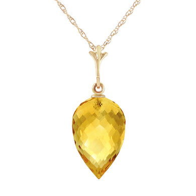 14 Karat Gold Pointy Briolette Drop Citrine Pendant