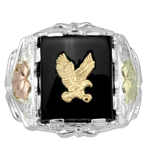 Mens Sterling Silver Black Hills Gold Gilded Eagle Ring - Jewelry