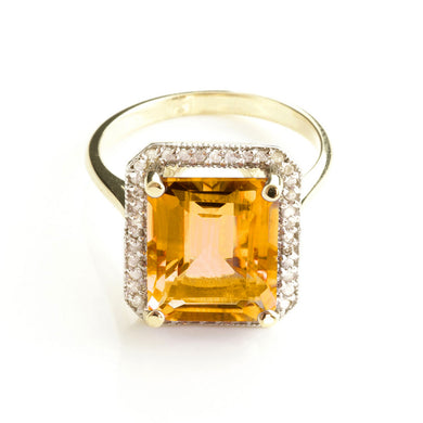 14 Karat Yellow Gold Love Parade Citrine Diamond Ring