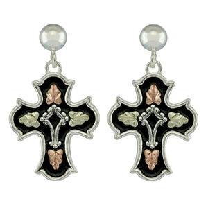 Sterling Silver Black Hills Gold Antiqued Cross Drop Earrings - Jewelry